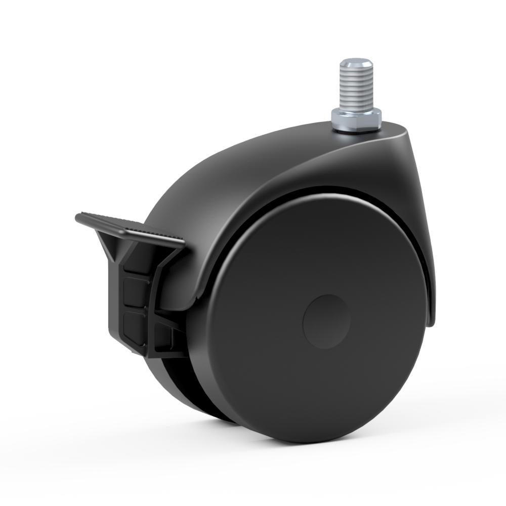 4.VAX0.DAM0, Ruota gemellata con supporto girevole, ∅ 75 mm, Boccola, TPU, Perno filettato