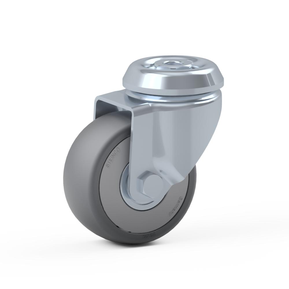 1.BFA0.NHA0, Rueda giratoria simple, ∅ 75 mm, Cojinete a bolas, TPE, Agujero pasante para