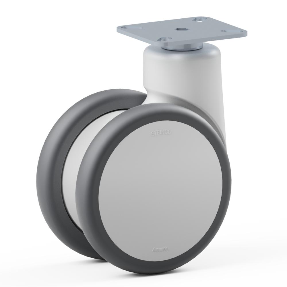 3.TPX0.DPD0, Rueda giratoria doble, ∅ 125 mm, Cojinete a bolas, TPU, Placa de atornillado