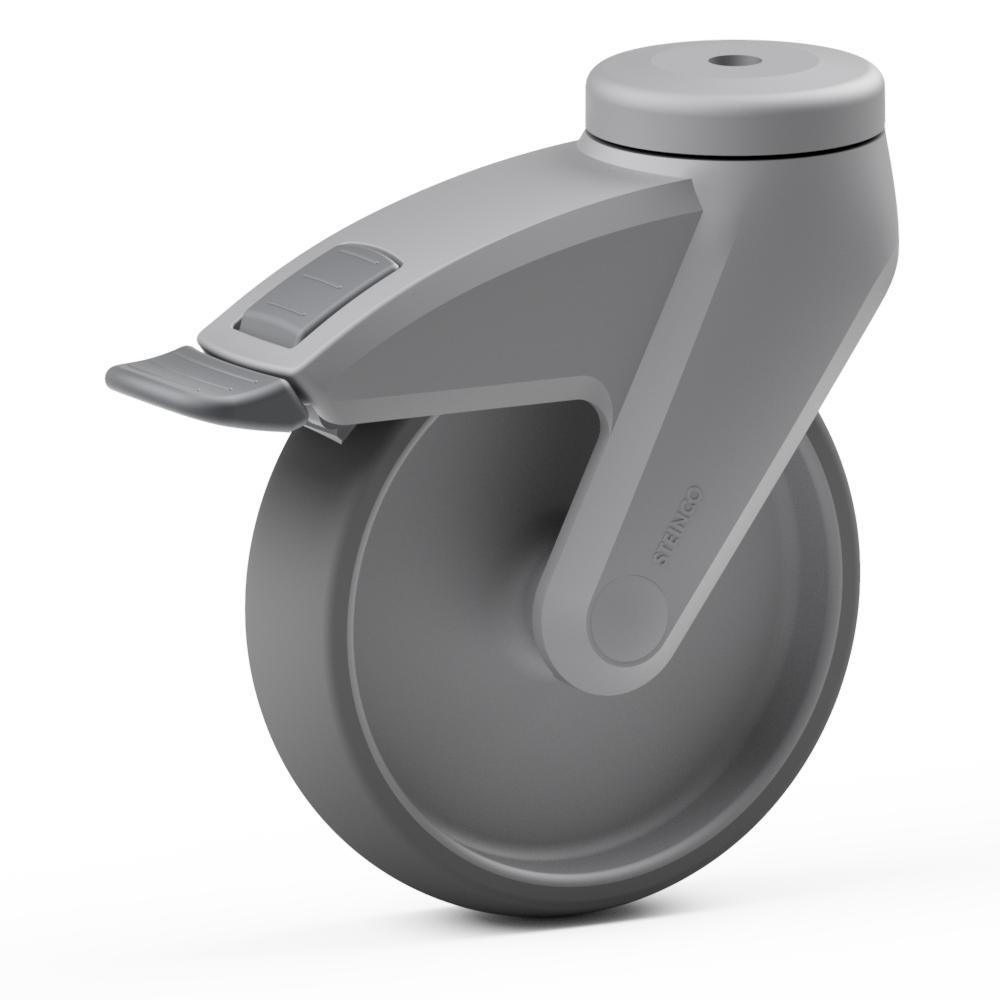 2.CB00.JKB0, Rueda giratoria simple, ∅ 100 mm, Cojinete liso, TPE, Agujero pasante para