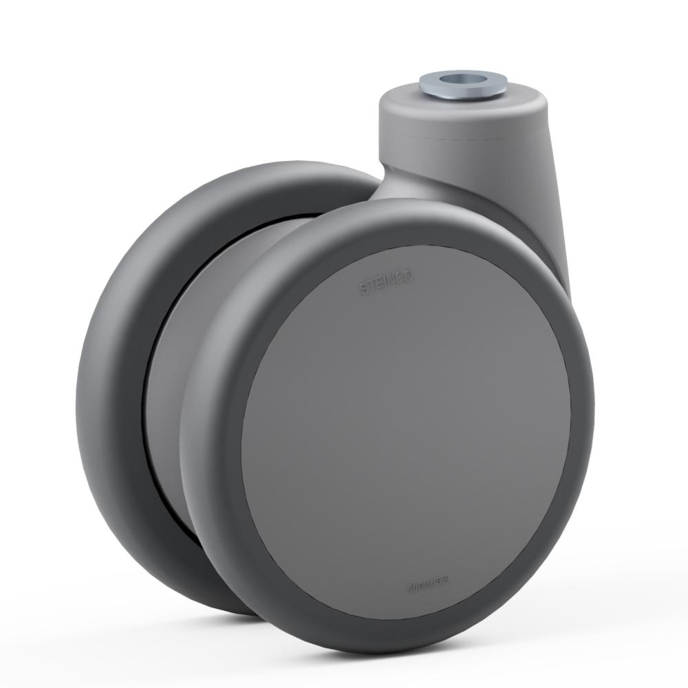 3.YPR0.DMA0, Ruota gemellata con supporto girevole, ∅ 100 mm, Cuscinetto a sfere, TPU, Foro centrale