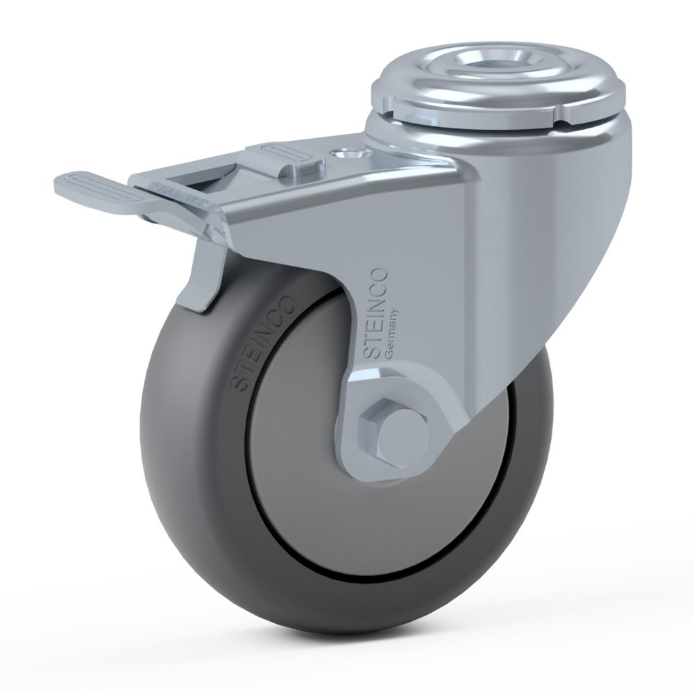 2.HGA0.E010, Rueda giratoria simple, ∅ 75 mm, Cojinete a bolas, TPE, Agujero pasante para