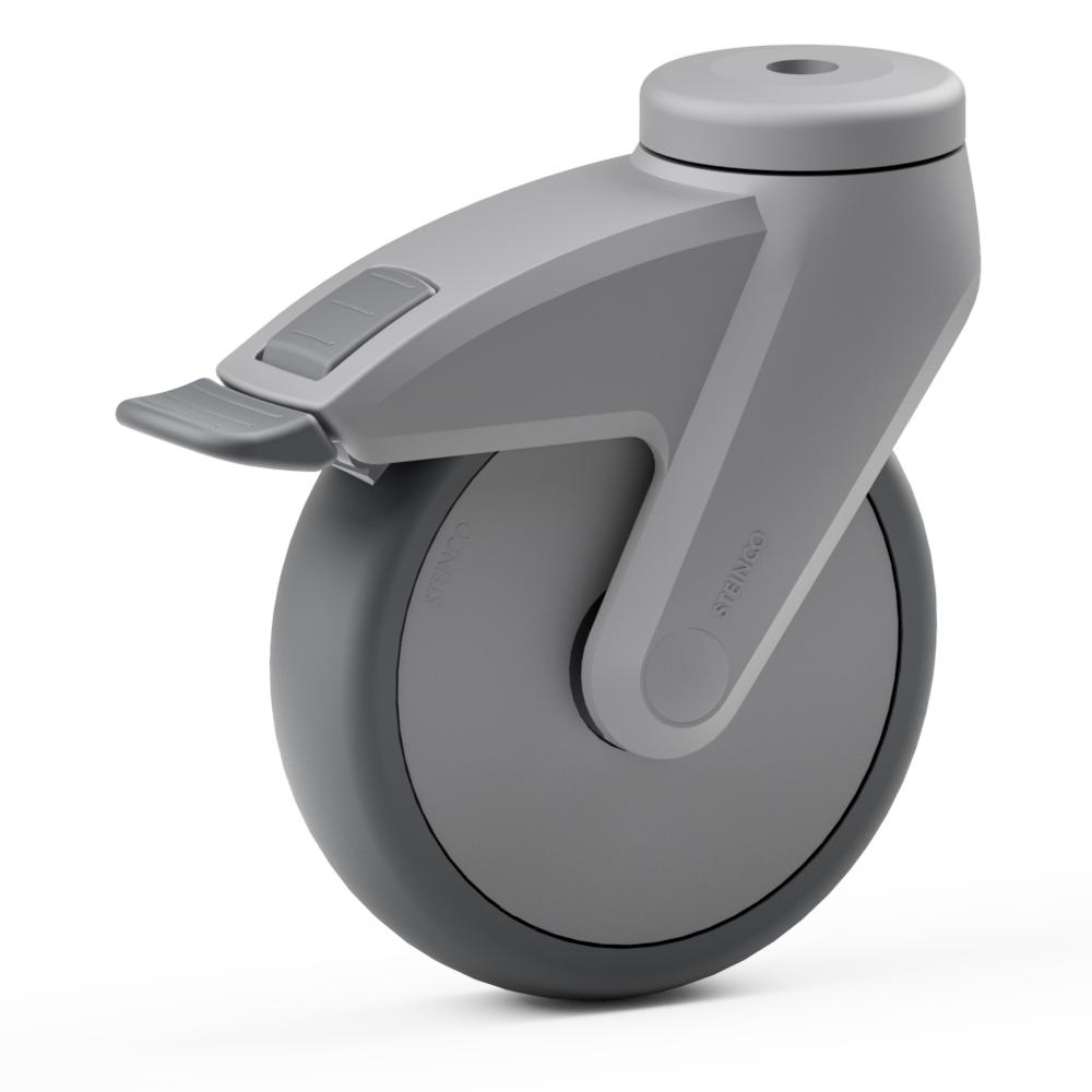 2.CB00.NDA0, Rueda giratoria simple, ∅ 100 mm, Cojinete a bolas, TPE, Agujero pasante para