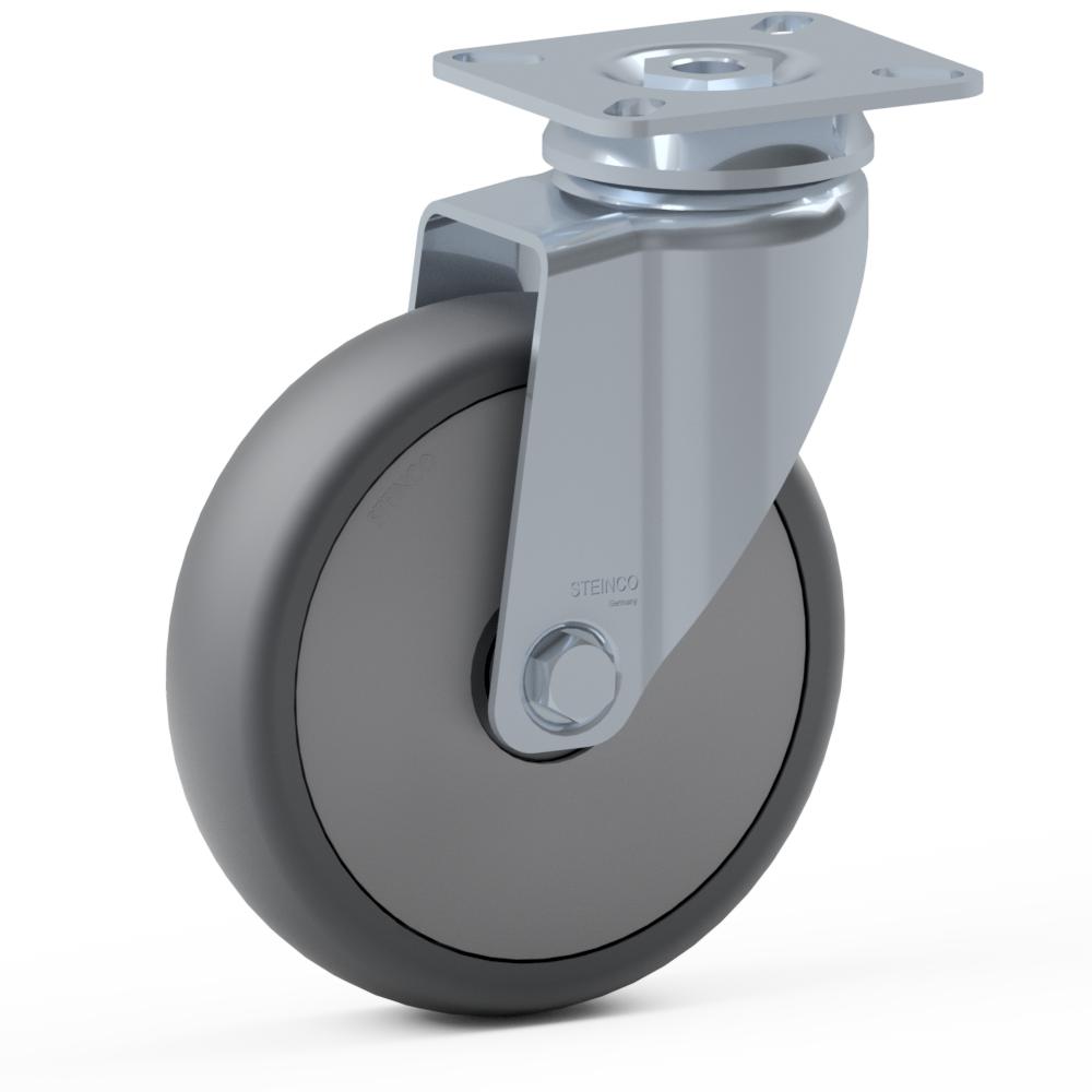 1.BDU0.PKD0, Rueda giratoria simple, ∅ 150 mm, Cojinete a bolas, TPU, Placa de atornillado