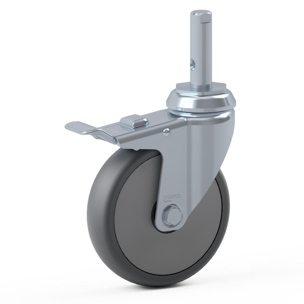 2.GLJ0.PKD0, Rueda giratoria simple, ∅ 150 mm, Cojinete a bolas, TPU, Perno