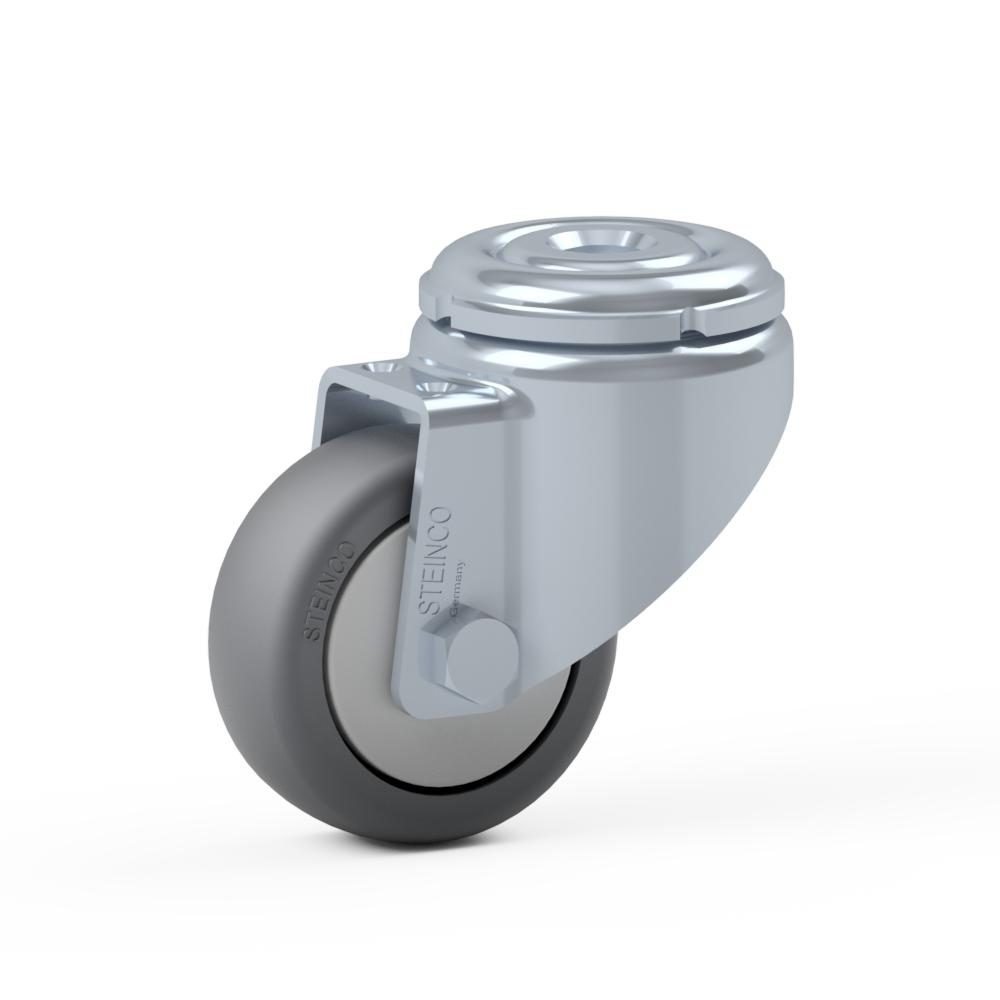 1.HUA0.C3A0, Rueda giratoria simple, ∅ 50 mm, Cojinete liso, TPE, Agujero pasante para
