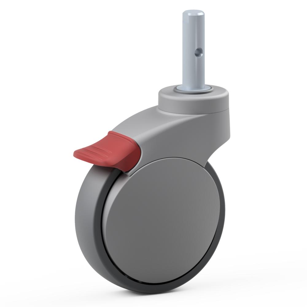 2.XPD0.PW10, Rueda giratoria simple, ∅ 125 mm, Cojinete a bolas, TPU, Perno