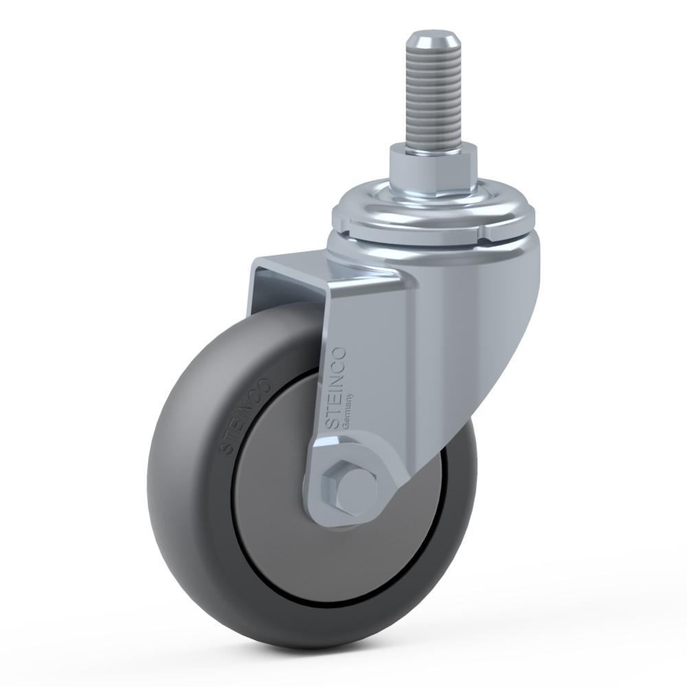 1.HJW0.PVB0, Rueda giratoria simple, ∅ 100 mm, Cojinete a bolas, TPE, Tornillo