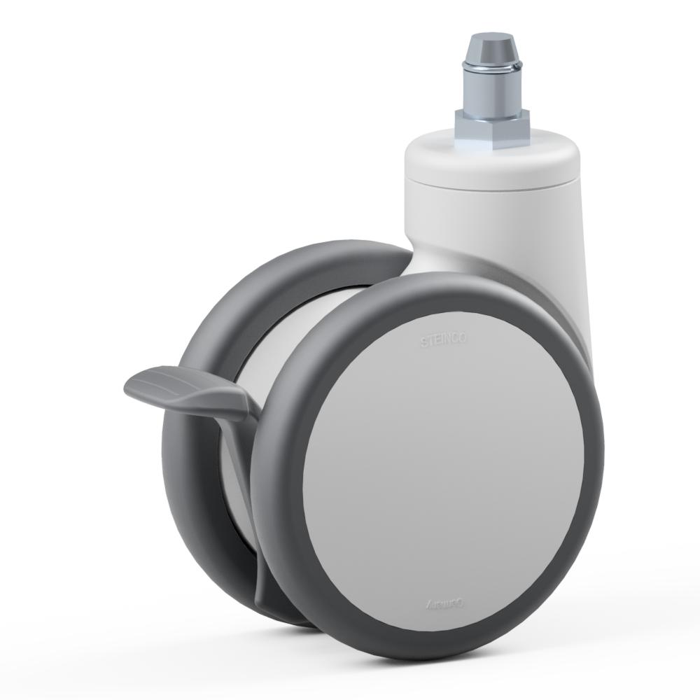 4.TQG0.DPB0, Ruota gemellata con supporto girevole, ∅ 125 mm, Cuscinetto a sfere, TPU, Perno