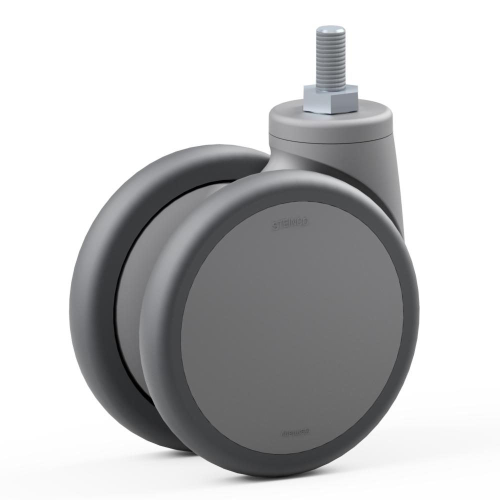 3.TAC0.DPC0, Double swivel castor, ∅ 125 mm, Ball bearing, TPU, Threaded bolt