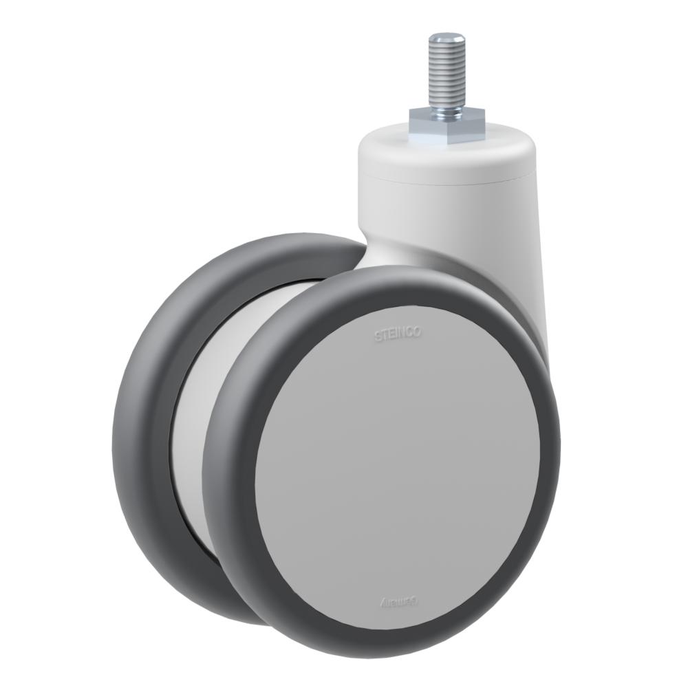 3.TPM0.DPD0, Rueda giratoria doble, ∅ 125 mm, Cojinete a bolas, TPU, Tornillo