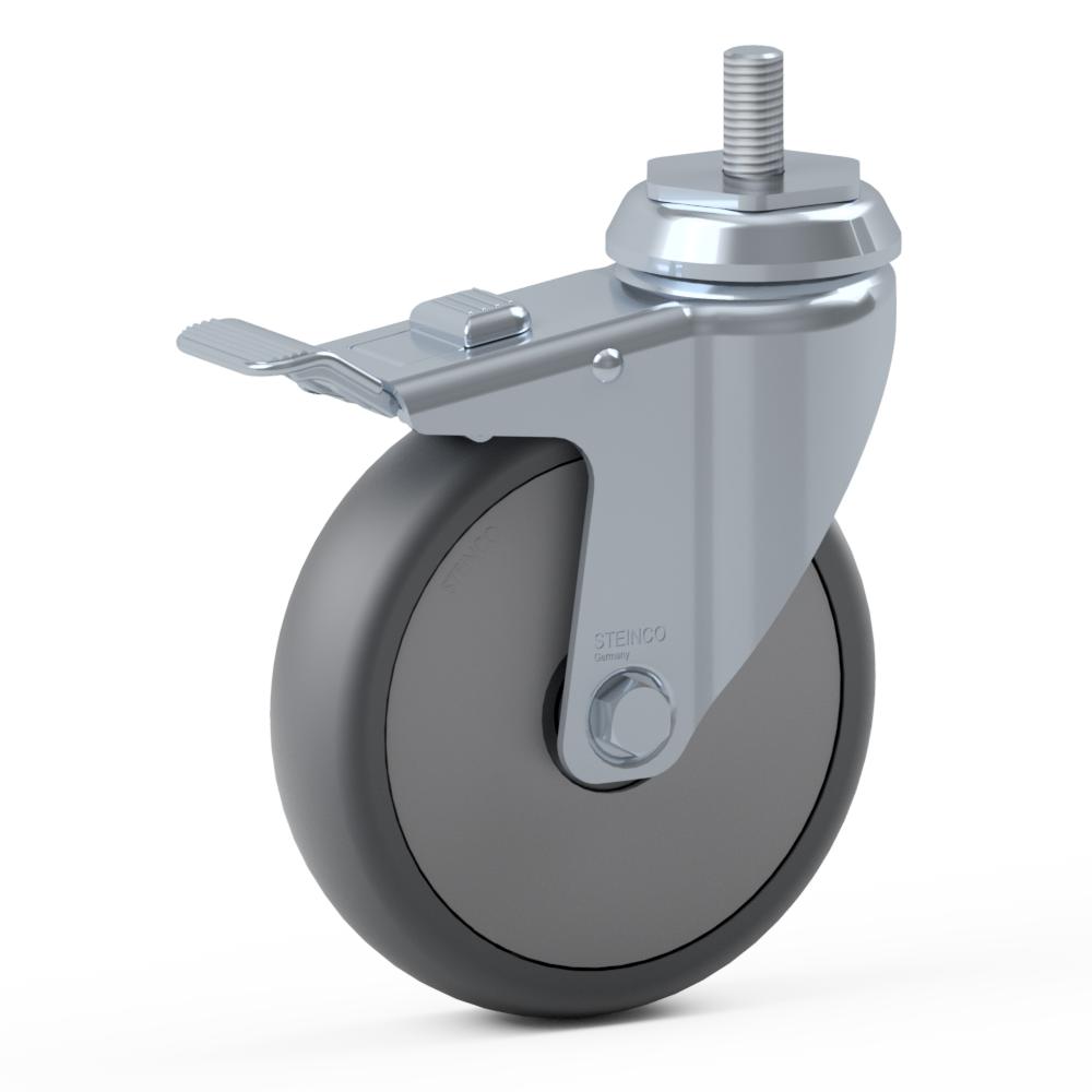 2.GL90.PKD0, Rueda giratoria simple, ∅ 150 mm, Cojinete a bolas, TPU, Tornillo