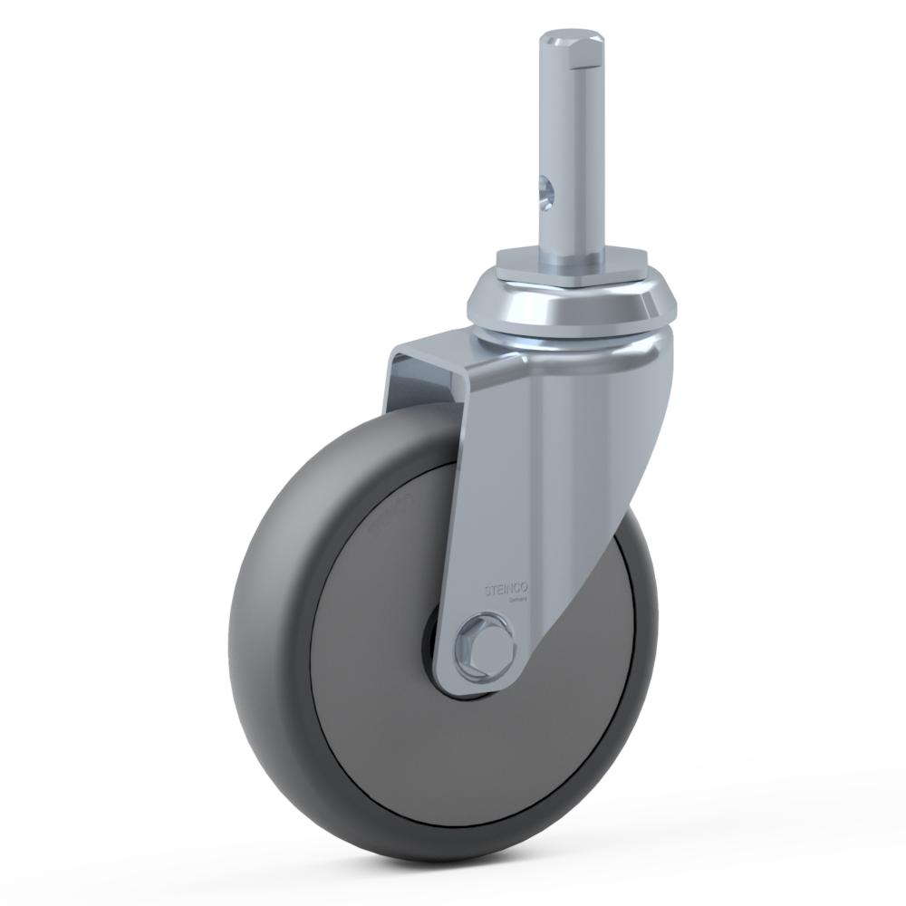 1.BDJ0.PKC0, Rueda giratoria simple, ∅ 150 mm, Cojinete a bolas, TPU, Perno