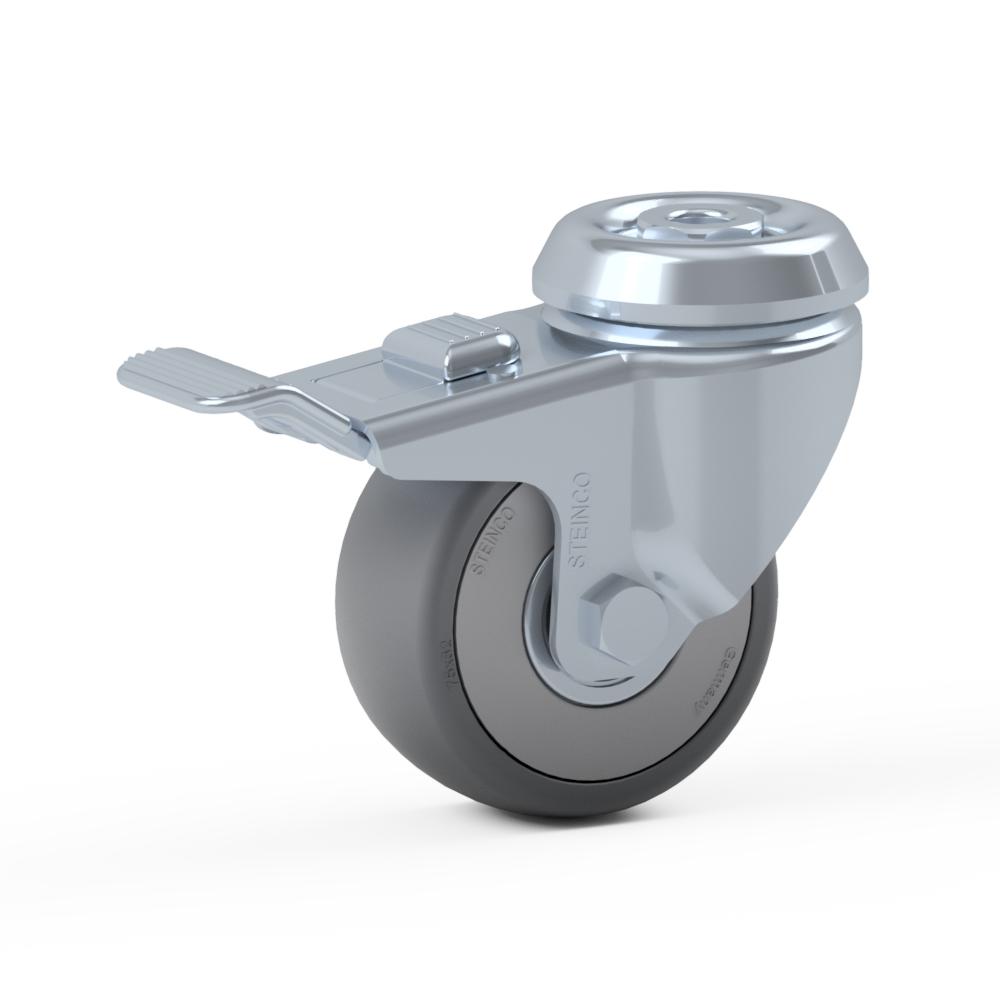 2.GNB0.NHA0, Rueda giratoria simple, ∅ 75 mm, Cojinete a bolas, TPE, Agujero pasante para