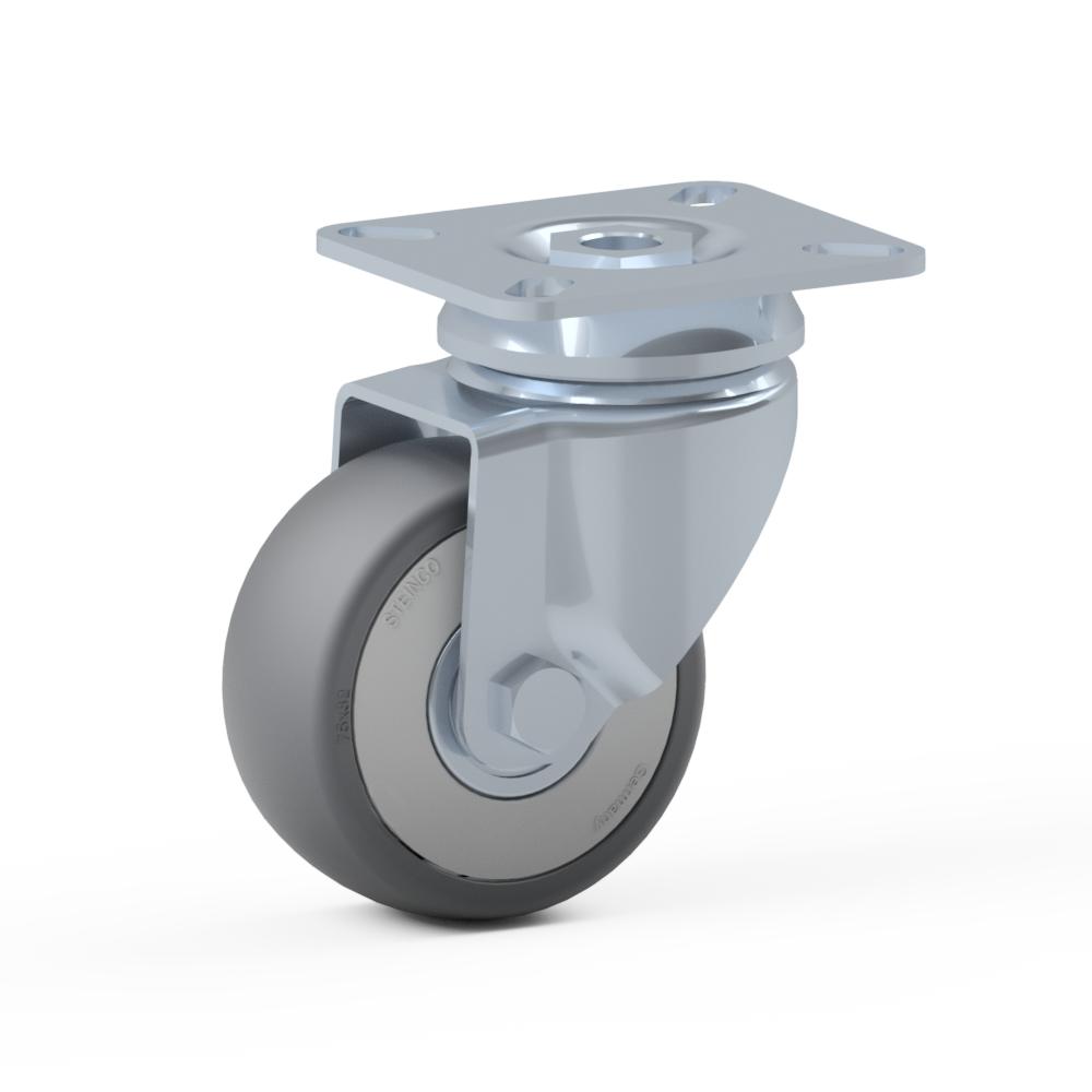 1.BFE0.NHA0, Rueda giratoria simple, ∅ 75 mm, Cojinete a bolas, TPE, Placa de atornillado