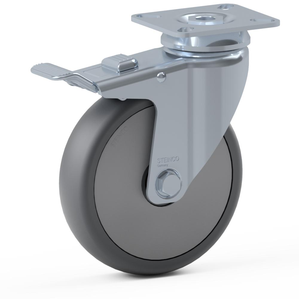 2.GLZ0.PKD0, Rueda giratoria simple, ∅ 150 mm, Cojinete a bolas, TPU, Placa de atornillado