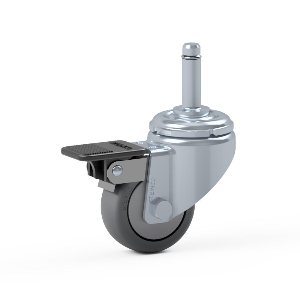 2.HXX0.C210, Rueda giratoria simple, ∅ 50 mm, Cojinete a bolas, TPE, Perno