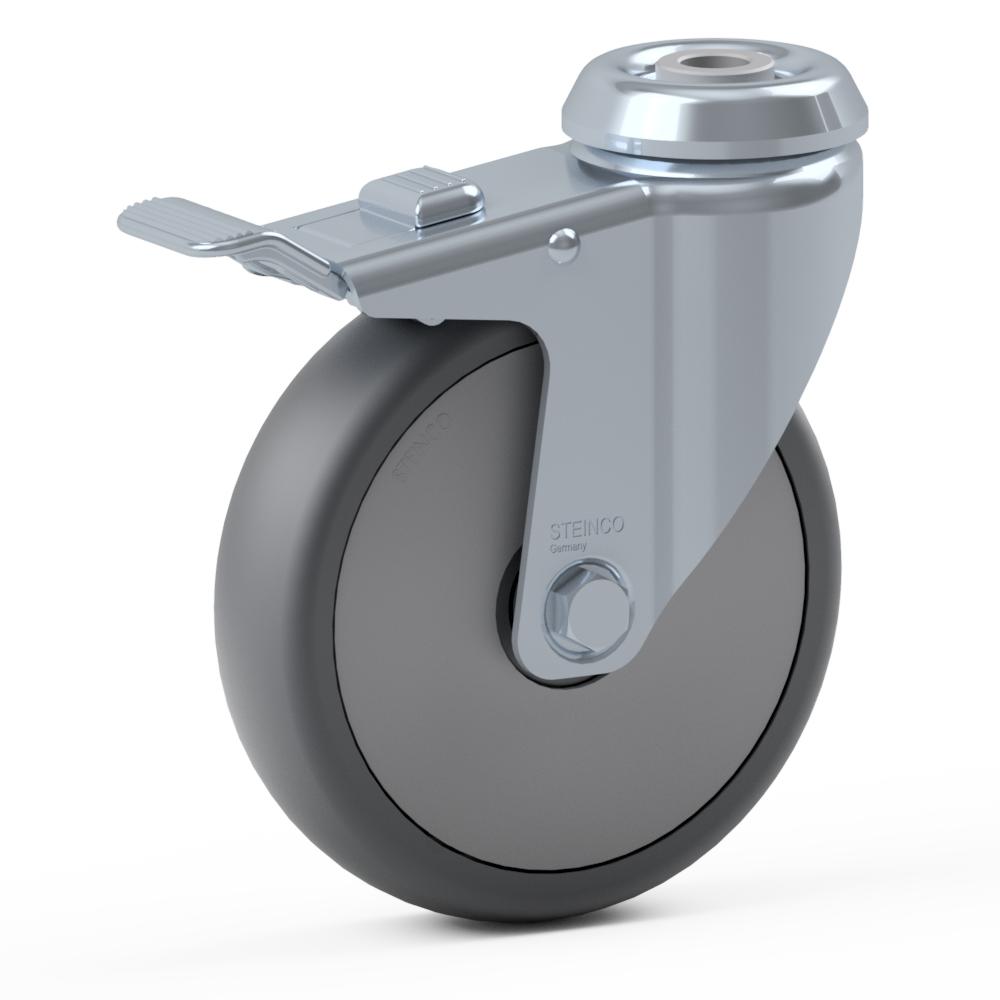 2.GLA0.PKD0, Rueda giratoria simple, ∅ 150 mm, Cojinete a bolas, TPU, Agujero pasante para